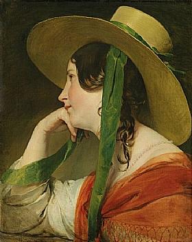 Friedrich von Amerling, Jeune fille au chapeau de paille - GRANDS PEINTRES / Von Amerling