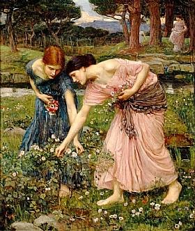 John William Waterhouse, Cueillette de boutons de roses - GRANDS PEINTRES / Waterhouse