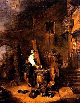 Jean Antoine Watteau, L'écureuse de cuivres - GRANDS PEINTRES / Watteau