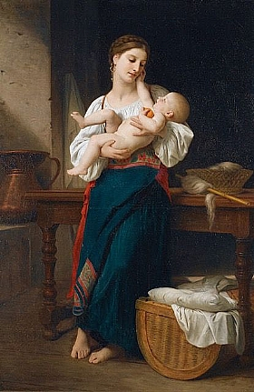 William-Adolphe Bouguereau, Premières Caresses - GRANDS PEINTRES / Bouguereau