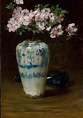 William Merritt Chase, Azalées dans un vase chinois - GRANDS PEINTRES / Chase