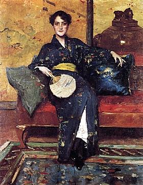 William Merritt Chase, Le kimono bleu - GRANDS PEINTRES / Chase
