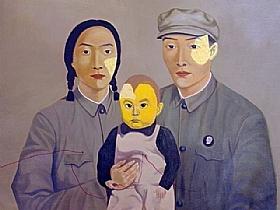 portrait de famille, couple d'ouvriers - PEINTURES / Tableaux Figuratifs