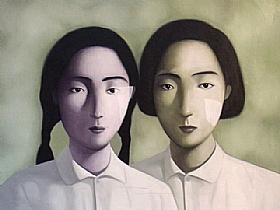 portrait de famille, les deux soeurs - PEINTURES / Tableaux Figuratifs