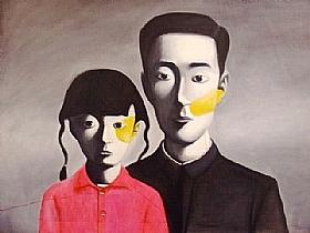 portrait de famille, jeune fille en chemisier rouge - PEINTURES / Tableaux Asie